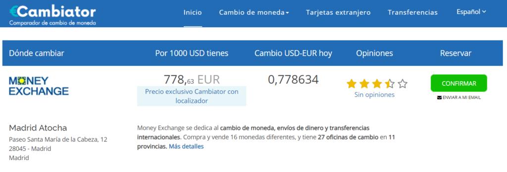 Cambio dolar euro Cambiator 01 08 2020