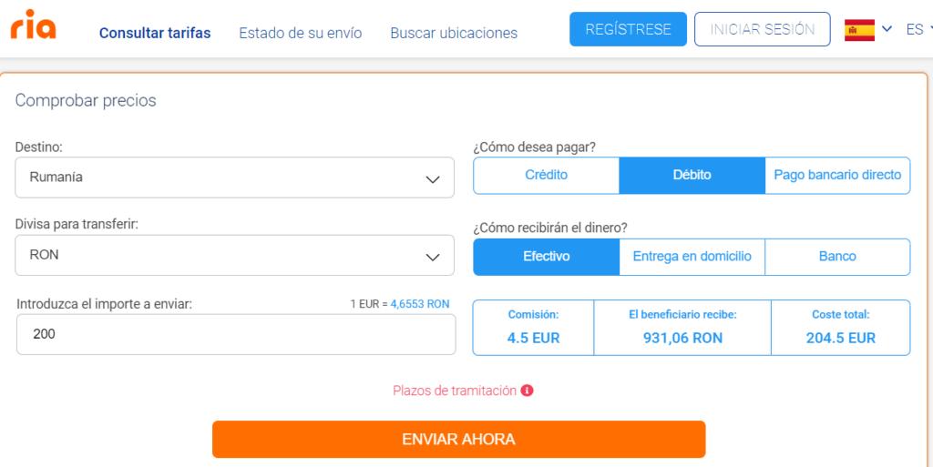Envío de dinero a Rumania con Ria
