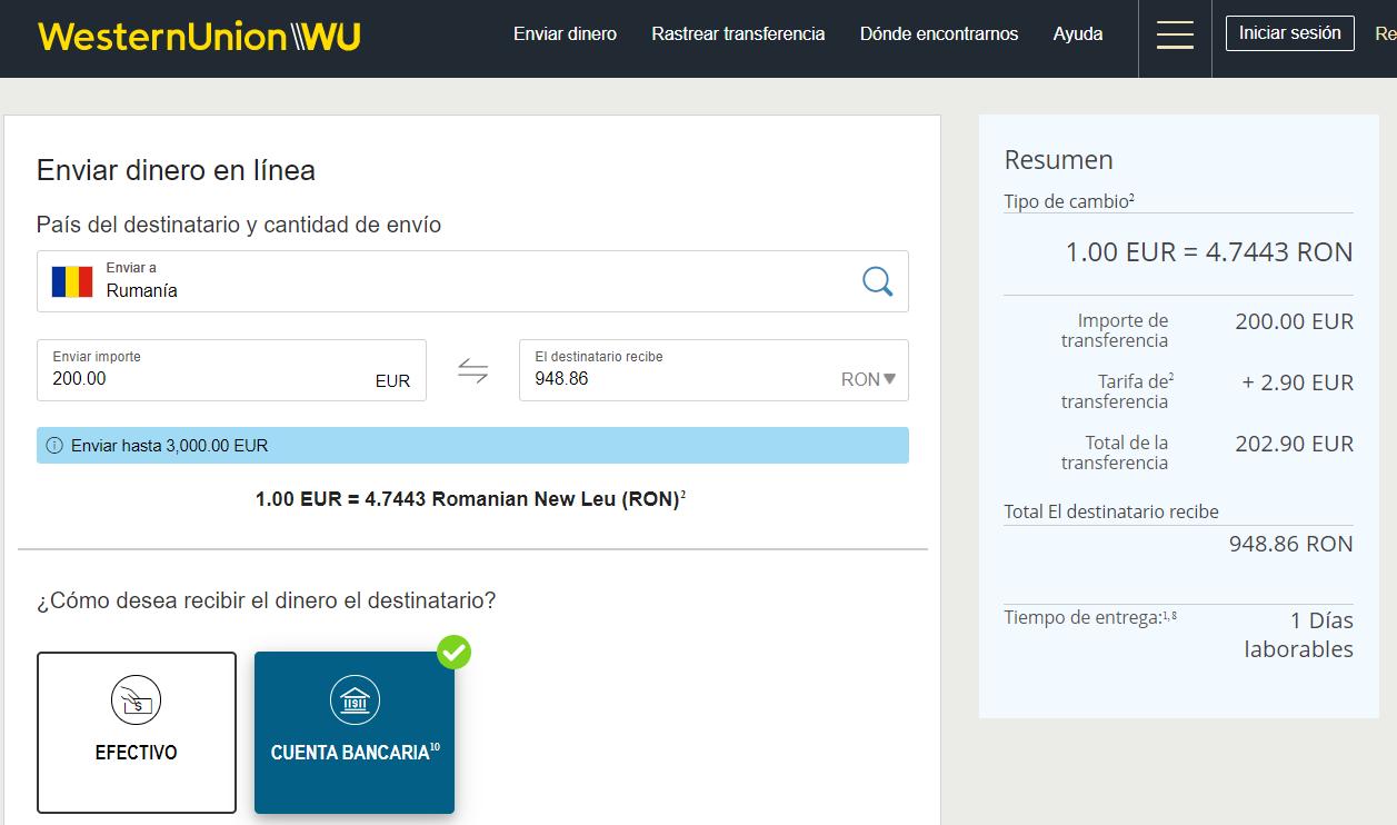Envío de dinero a Rumania con Wester Union
