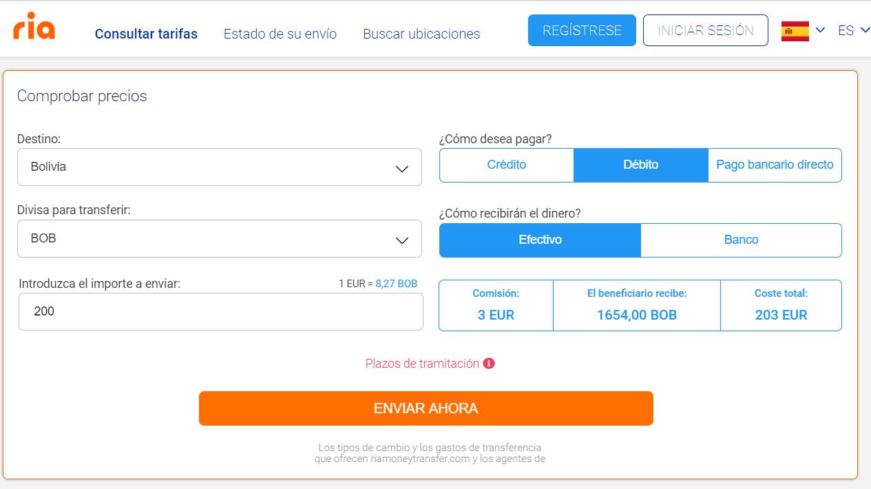 Enviar dinero a Bolivia RIA