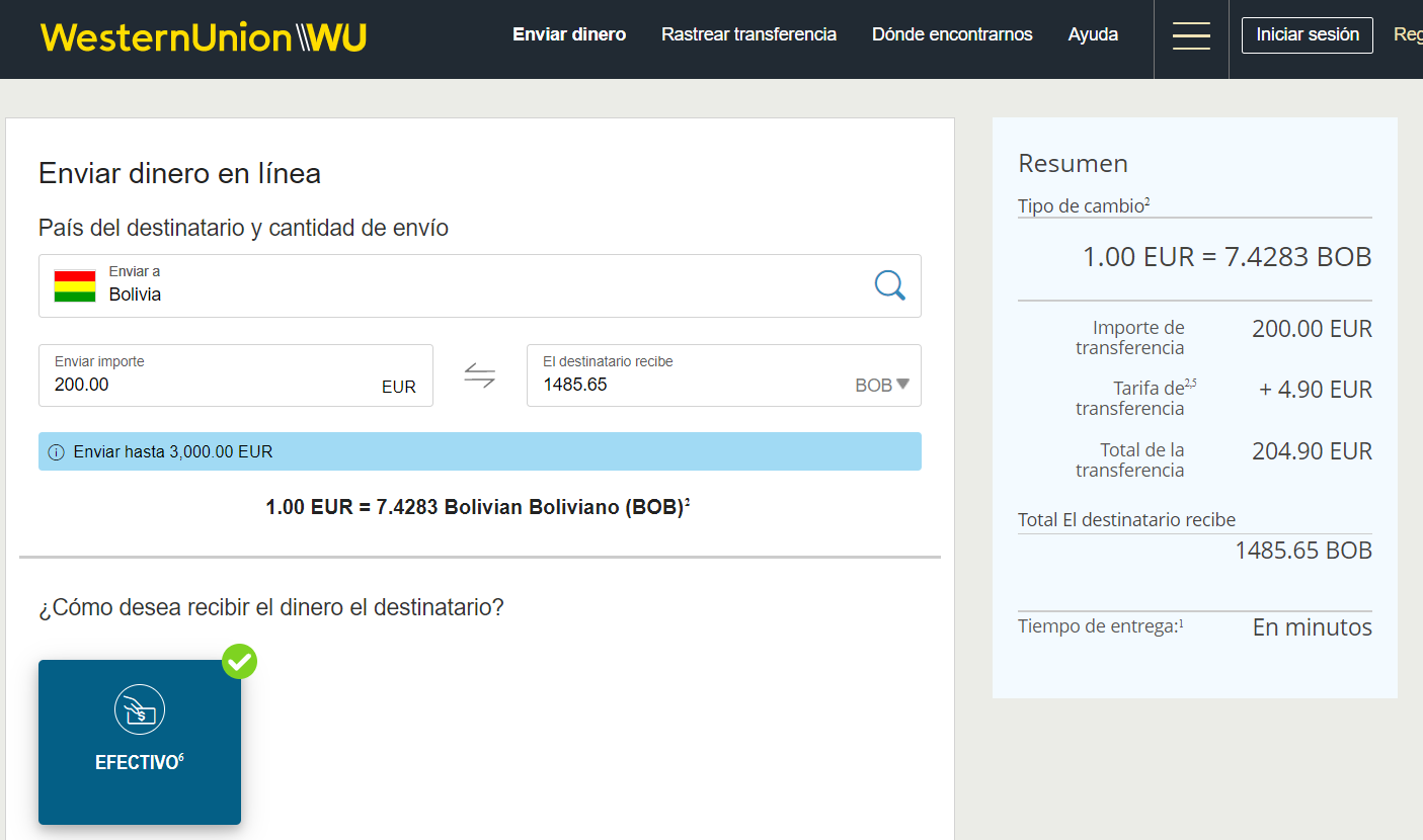 Enviar dinero a Bolivia Western Union