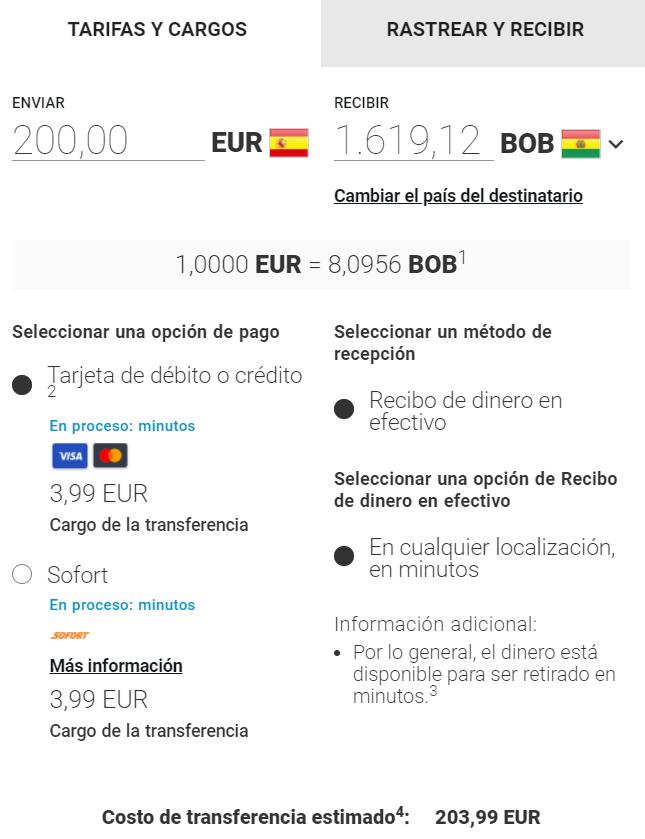 Enviar dinero a Bolivia con MoneyGram