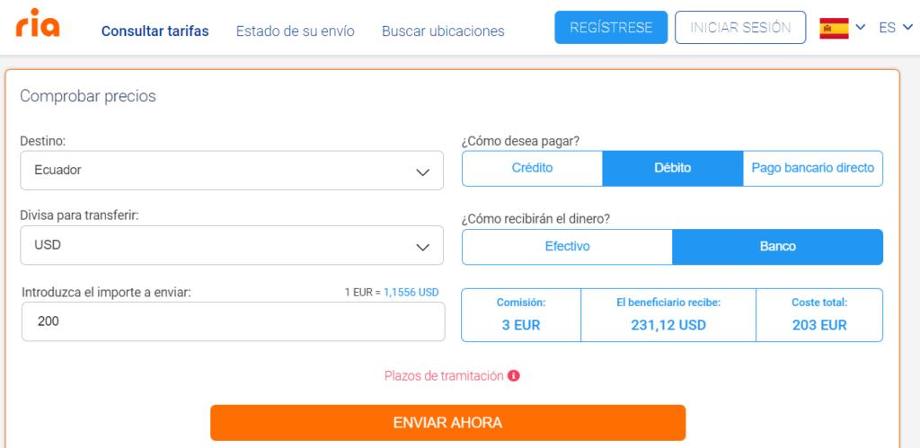 Enviar dinero a Ecuador con Ria Money Transfer