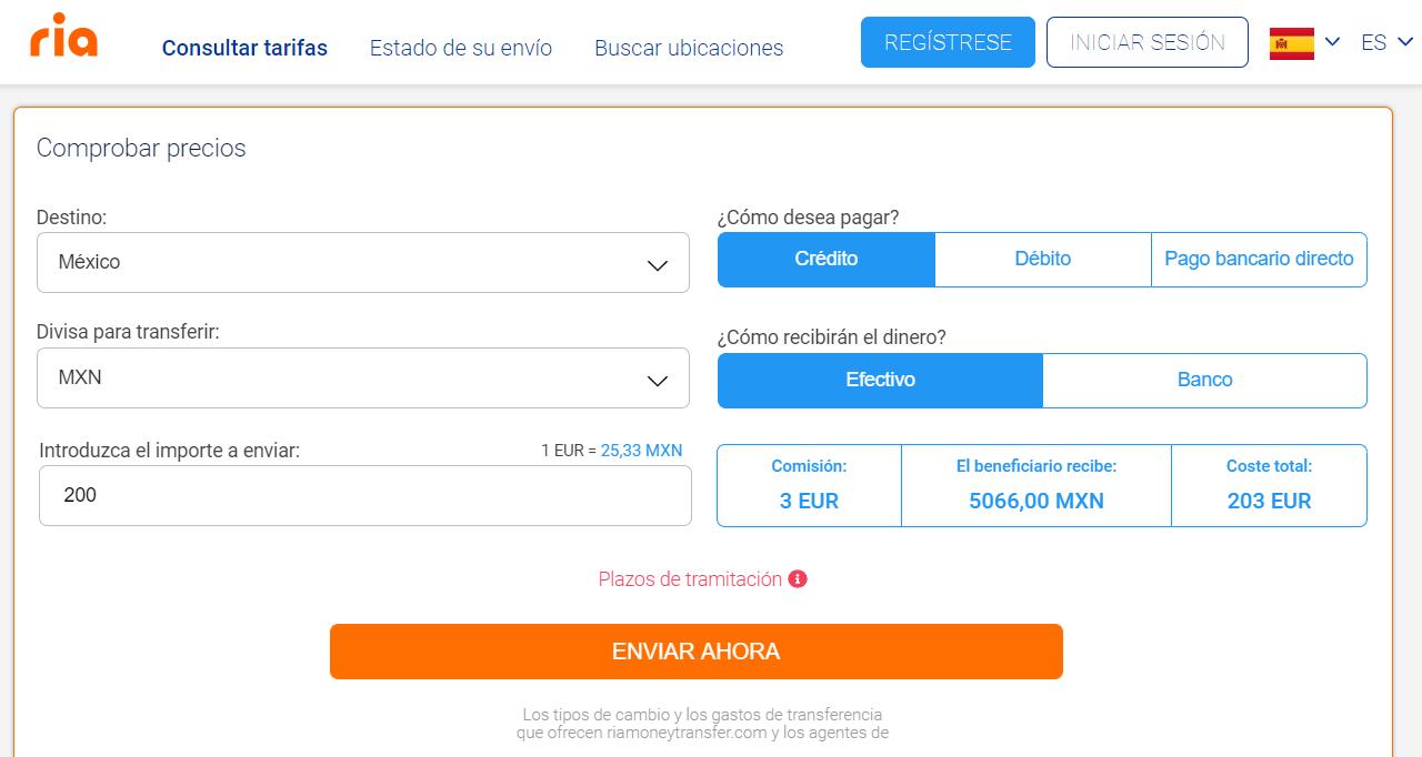 Enviar dinero a México con Ria Money Transfer 25 08 2020