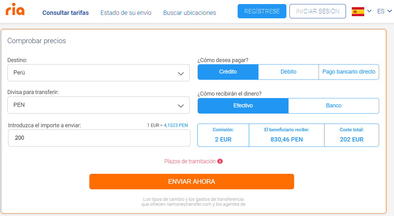 Enviar dinero a Peru con Ria