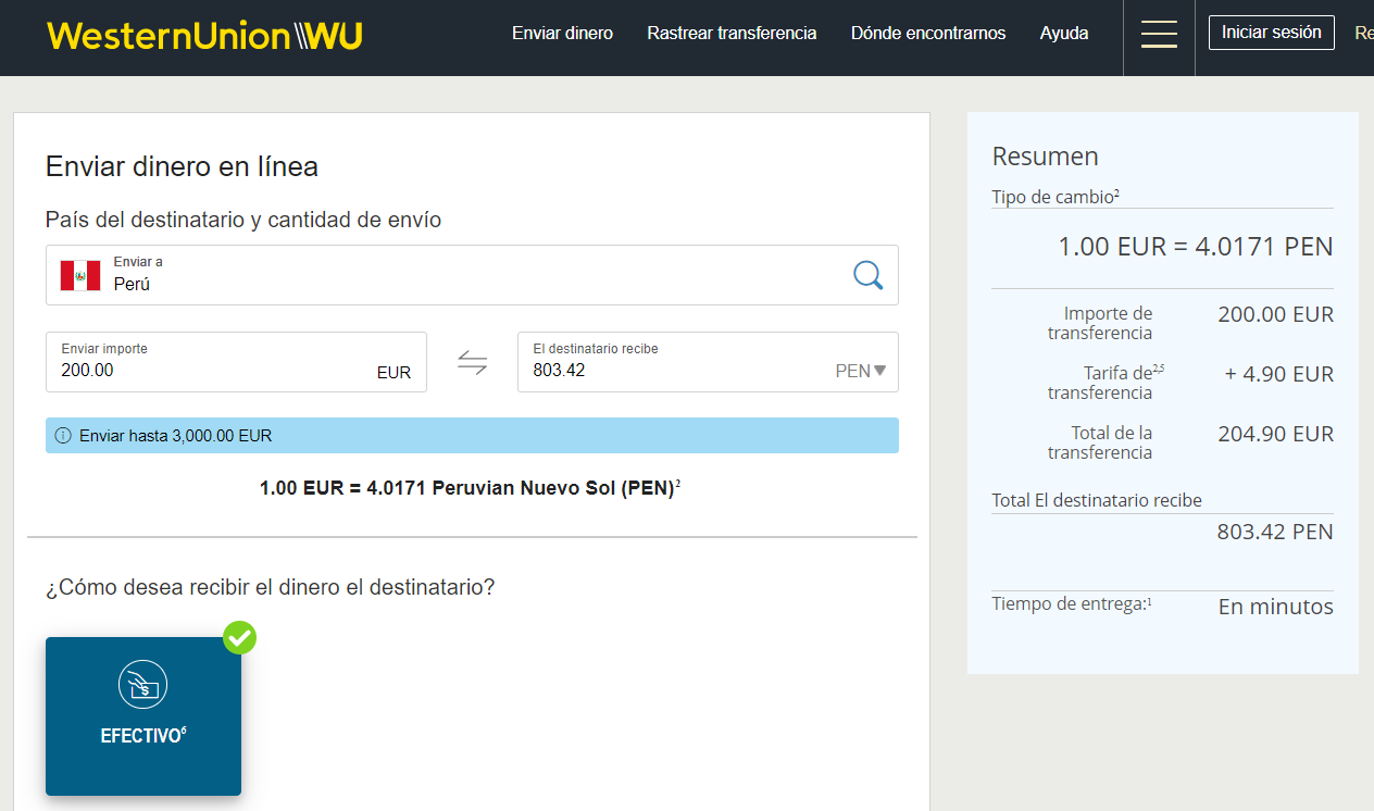 Enviar dinero a Peru con Western Union