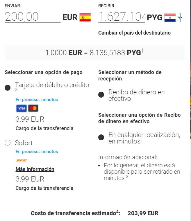 Enviar dinero de España a Paraguay con MoneyGram
