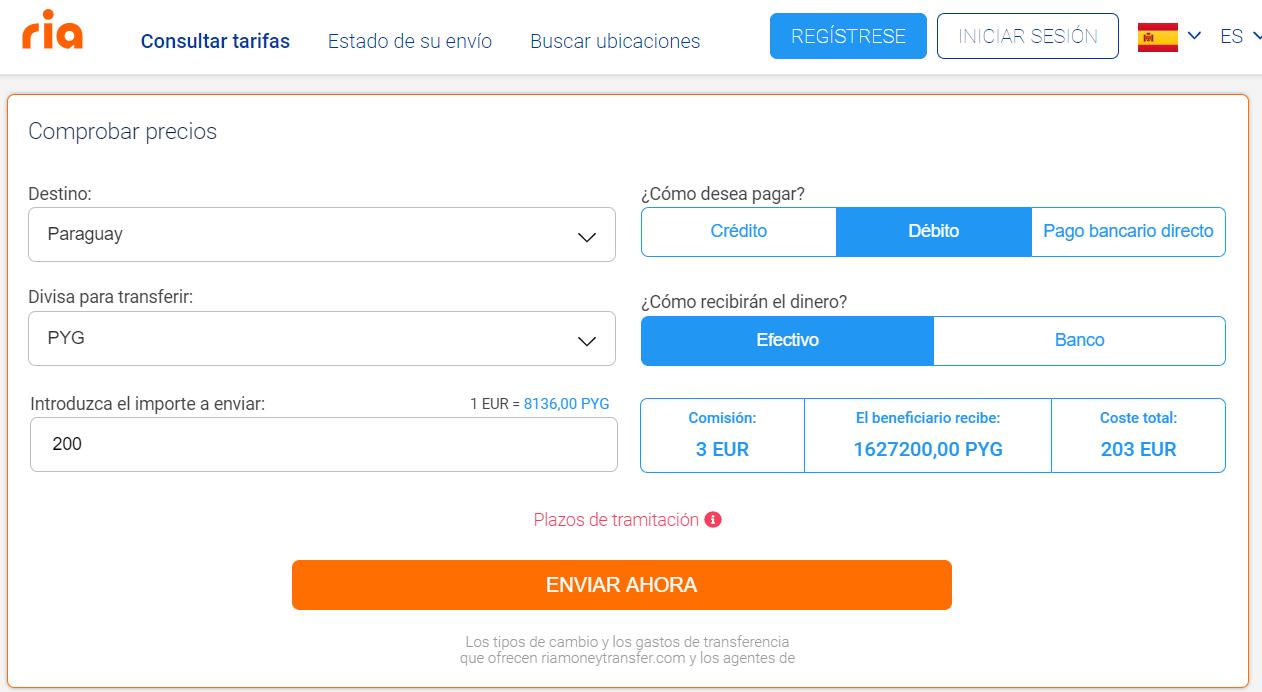 Enviar dinero de España a Paraguay con Ria Money Transfer