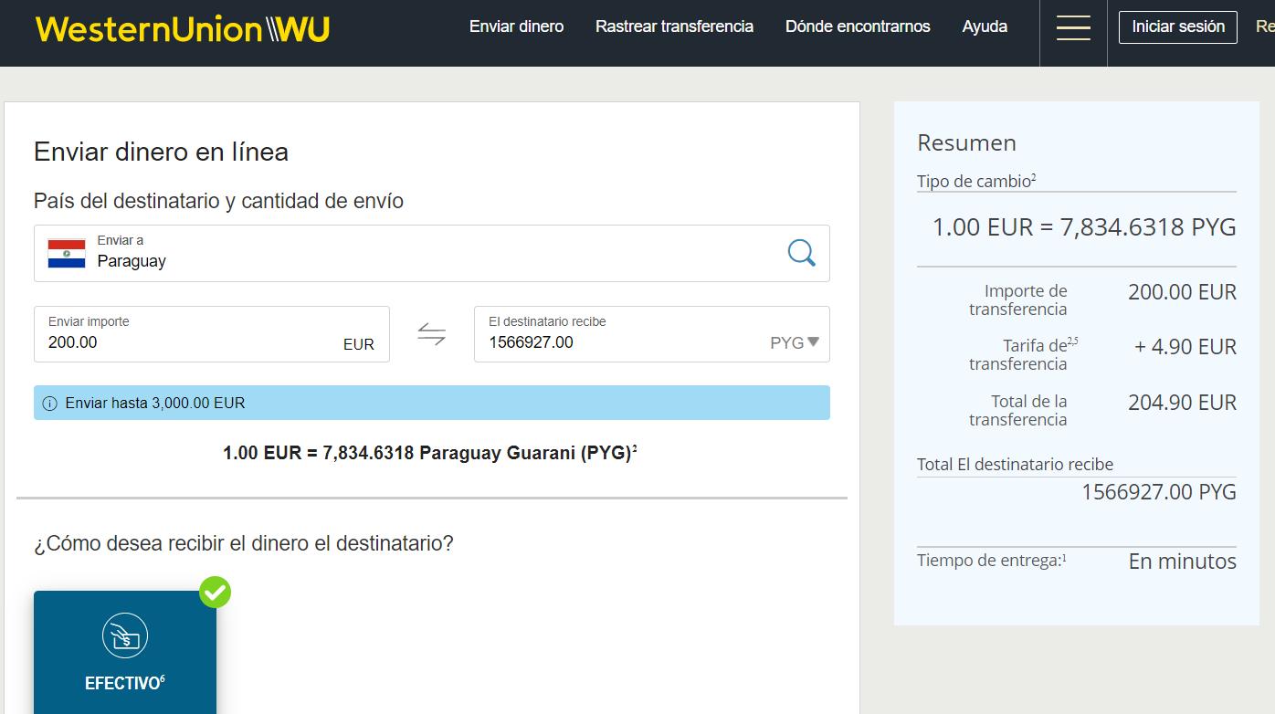 Enviar dinero de España a Paraguay con Western Union