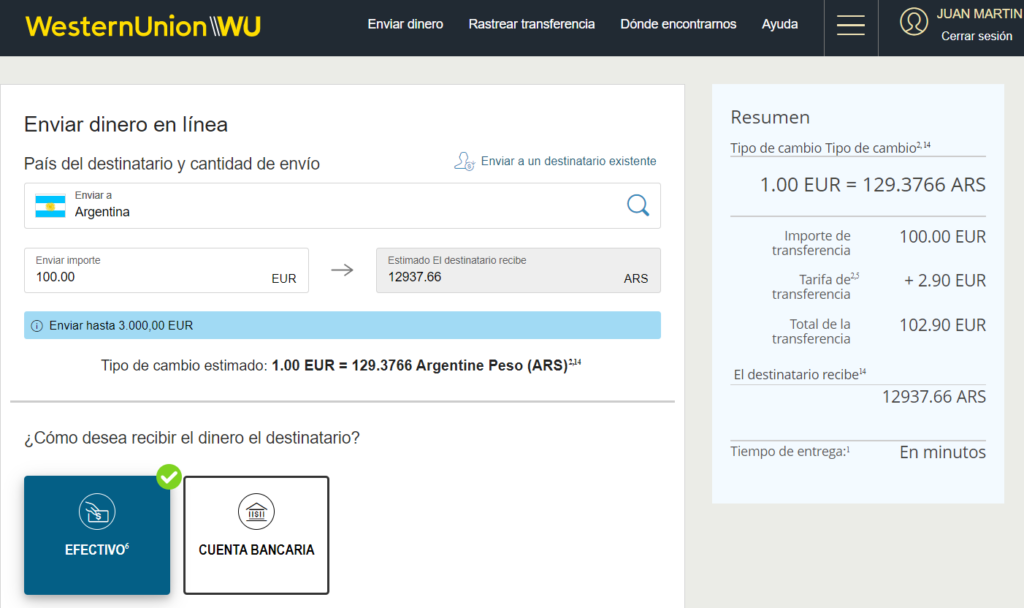 Envio de dinero a Argentina Wester Union