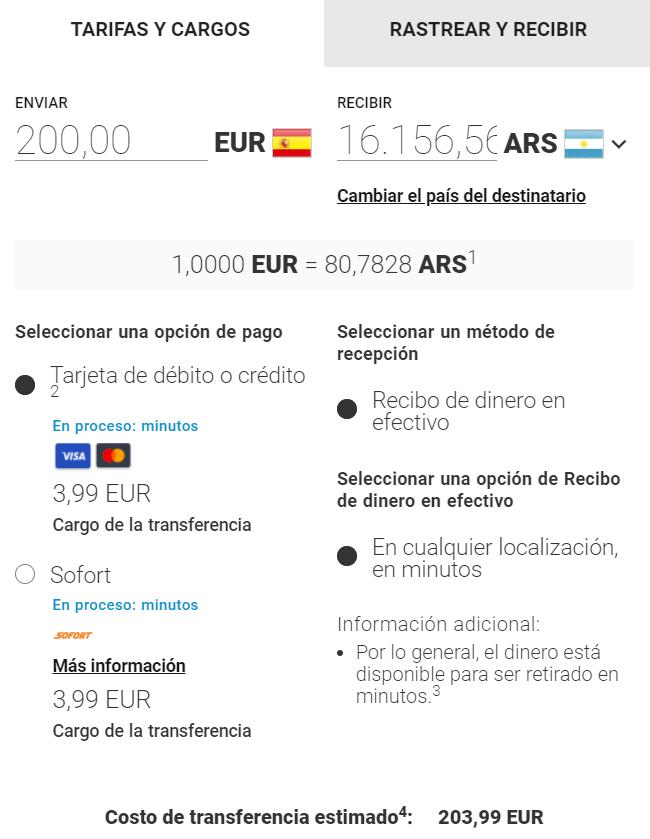 Envio de dinero a Argentina MoneyGram