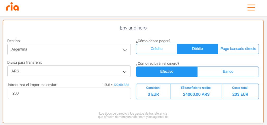 Envio de dinero a Argentina Ria Money Transfer