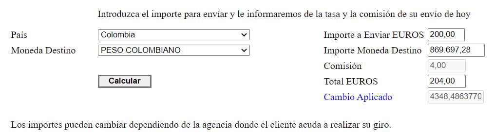 Envio de dinero a Colombia con Europhil