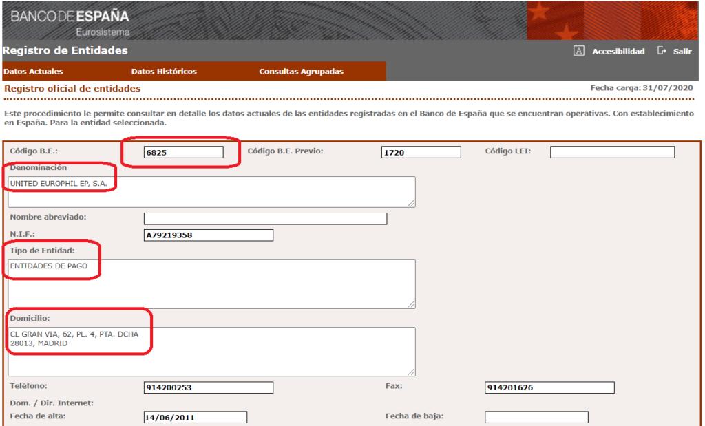 Europhil registro entidades de pago Banco de España 6825