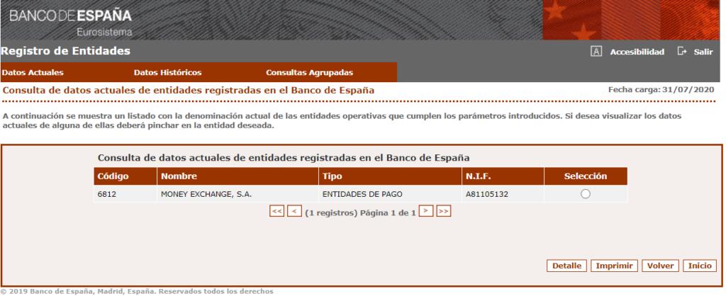 Registro de entidades de pago Banco de España Money Exchange