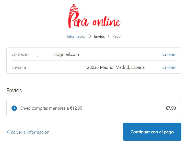Tienda Peru Online gastos de envío