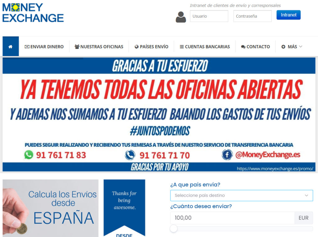 Web de Money Exchange